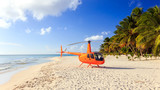 Helicopter on caribbean beach