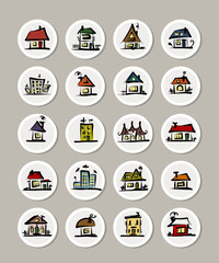 Set of icons with houses for your design