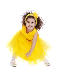 Super positive little girl in a dress.