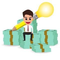 businessman handle pencil lightbulb and sitting on money stacks