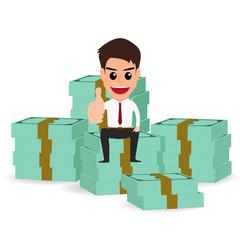 businessman sitting on money stacks