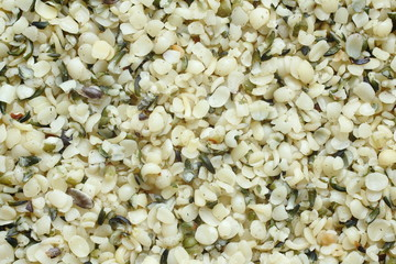Top view of shelled hemp seeds. Can be used as background