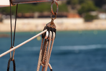 Holder of a rope on the sea boat