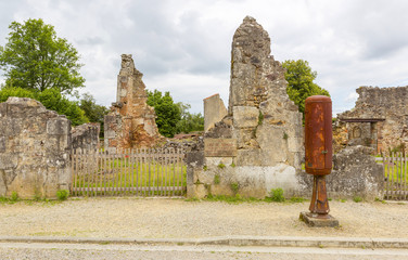 The ruined street of Oradour sur Glane
