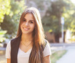Portrait of young beautiful smiling teen girl