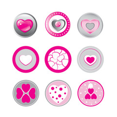 set of 9 stamps and stickers hearts