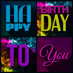 Vector birthday card with text on triangular background in