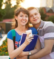 Cute young beautiful teen couple