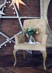Wedding bouquet on the armchair