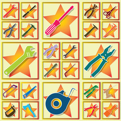 tools in color square