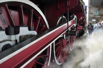 Old locomotive wheels detail