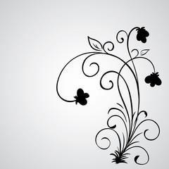 Hand drawn vector swirl flower elements