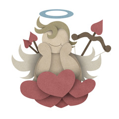 Cupid sit on heart cloud made from recycled paper craft