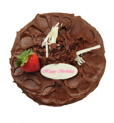 Chocolate cake isolated on white.
