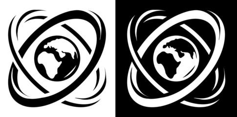 Atom with globe icon