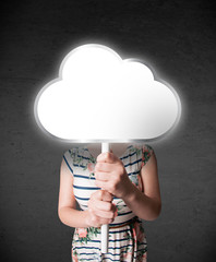 Young woman holding a cloud