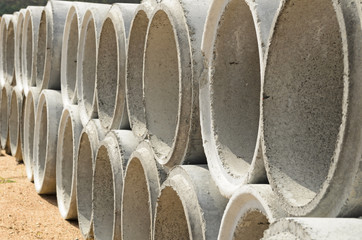 Concrete drainage pipes stacked