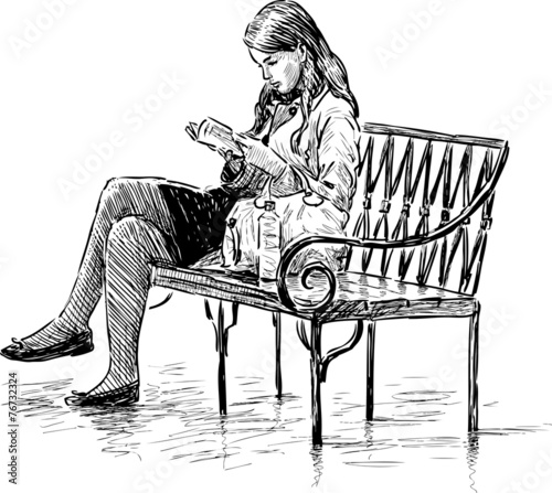 girl reading on a park bench - 76732324