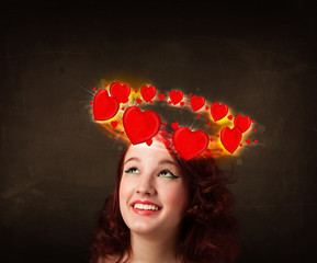 teenager girl with heart illustrations circleing around her head