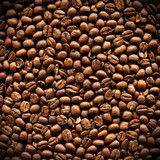 Closeup Of Delicious Roasted Aromatic Arabica Coffee Beans poster