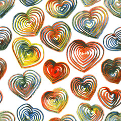 seamless pattern with drawing hearts