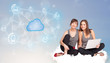Happy women sitting on clous with cloud computing
