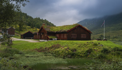 Hostel with grassy roof in Norway