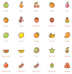 Fruits icon set