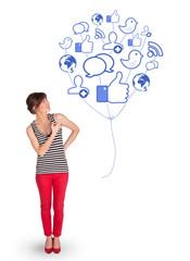 Happy lady holding social icon balloon