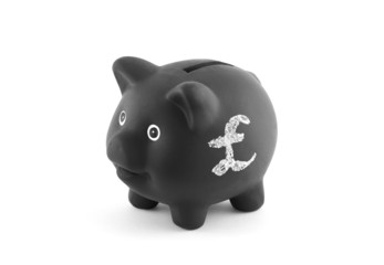 Black piggy bank with pound sign. Clipping path included.