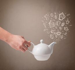 Tea pot with hand drawn kitchen accessories