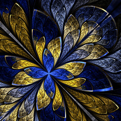 Beautiful fractal as flower or  butterfly in stained glass windo
