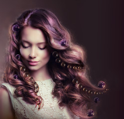 Beauty Portrait of Young Woman with Flowing Hairs
