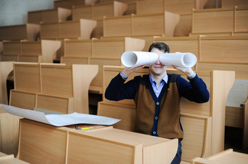 The student in a big class prepares for examination