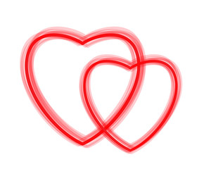 two red hearts - vector contours