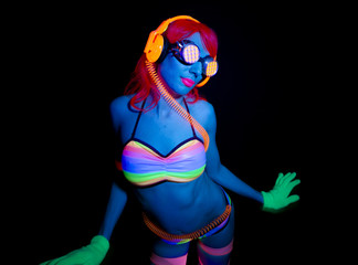 sexy neon uv glow dancer