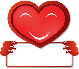 Serce trzymające kartkę, Walentynki, wektor