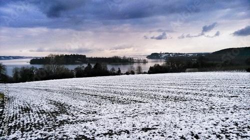 canvas print picture Insel im See an einem Wintertag
