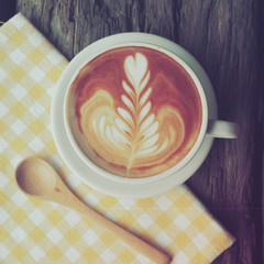 Cup of Coffee in coffee shop vintage color tone style