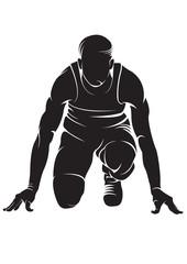 Runner. Crouch start. Vector silhouette isolated on white