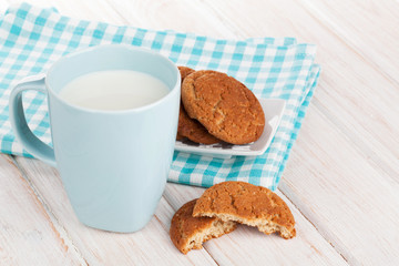 Cup of milk and gingerbread cookies