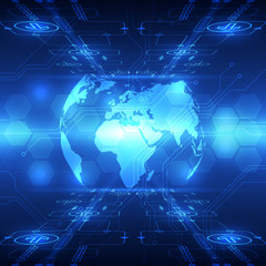 vector abstract global future technology, telecoms background