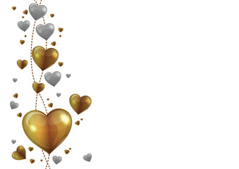 gold and silver heart vector