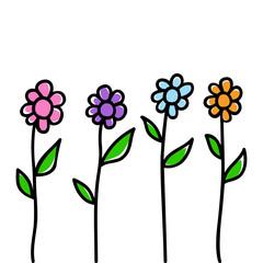 Doodle illustration of flowers