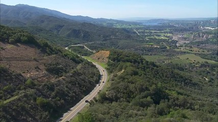 California Trees Mountains Winding Road