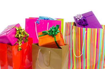 Gifts in paper shopping bags