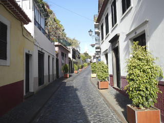 Cobblestone street in Funchal old town, Madeira