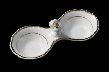 Small partitioned dish with a gold border