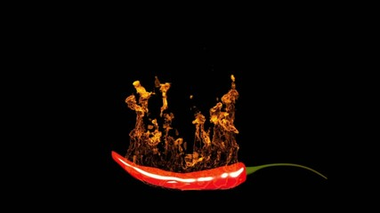 Burning spicy chili pepper.