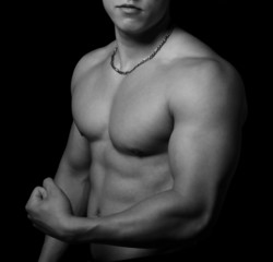 Muscular body of bodybuilder